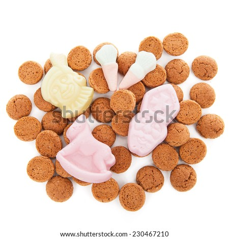 Typical dutch sweets: pepernoten (ginger nuts) for Sinterklaas; celebration at 5 december in the Netherlands - stock photo