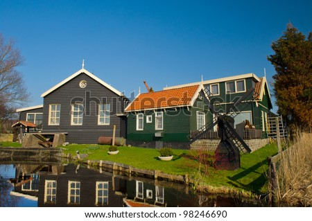 Typical Dutch water pumping station on island the Woude