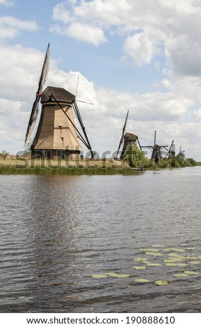 Typical Dutch windmills, Kinderdijk near Rotterdam, the Netherlands