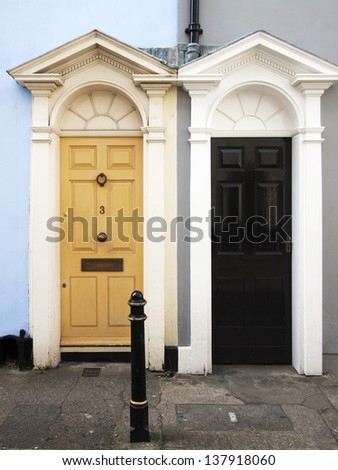 Typical English town house door - stock photo