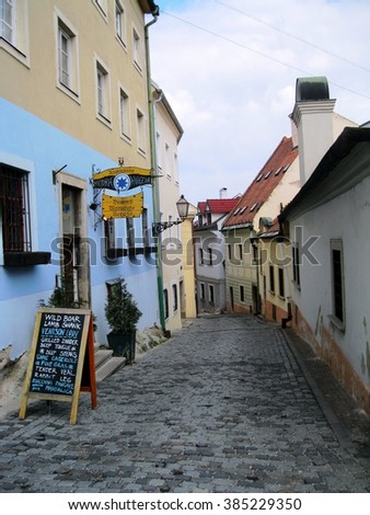Typical European street with beautiful houses in Bratislava, Slovakia