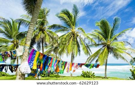 typical fabrics, Bathsheba, East coast of Barbados, Caribbean - stock photo