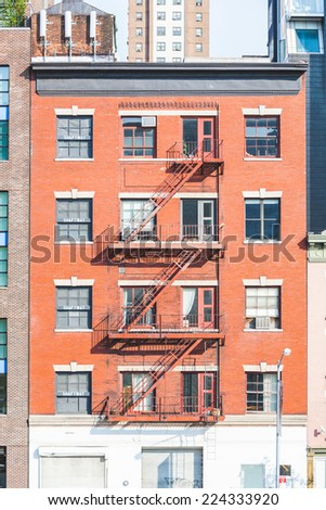 Typical Fire Escape in New York Buildings - stock photo