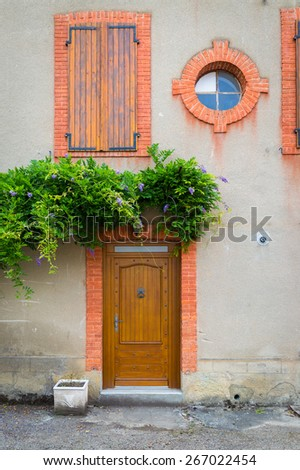 Typical French house in the Pyrenees area in the south of France - stock photo