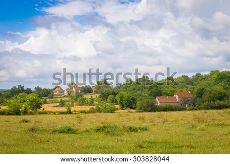 Typical French houses in Calvignac in Lot in France - stock photo