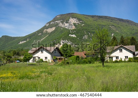 Typical french village between mountains in Alpes, France
