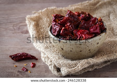 Typical fried red peppers from Matera in Basilicata region, Italy - stock photo