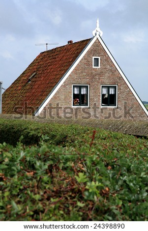 Typical Frisian houses in Sloten - Netherlands - stock photo