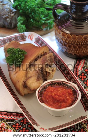 Typical German dish - roasted pork knuckle - stock photo