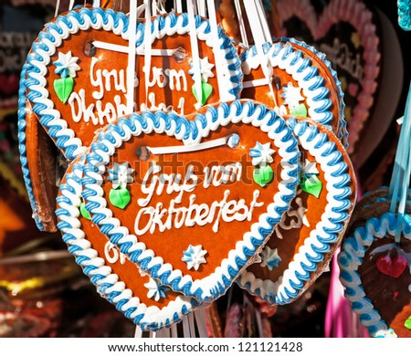 "typical gingerbread hearts at the oktoberfest in munich - ""greetings from the oktoberfest"""