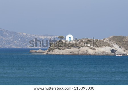 Typical Greek Orthodox chapel on Kos island, Greece - stock photo