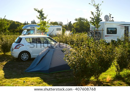 Typical Green camping area in Arles, France - stock photo