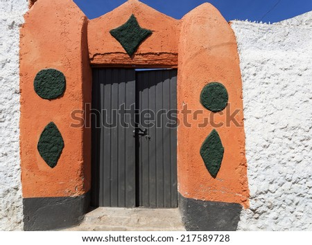 Typical house entrance in ancient city of Jugol. Harar. Ethiopia. - stock photo