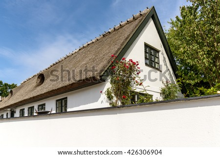 Typical house in Denmark a sunny summer. / Typical House in Denmark - stock photo