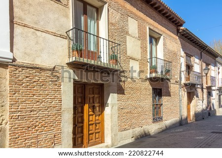typical house in the historic town of Alcala de Henares, Spain - stock photo