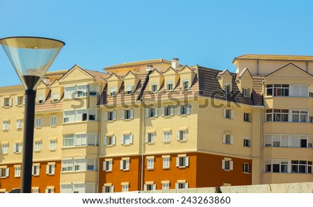 Typical houses in the area of the Rock of Gibraltar, Spain - stock photo