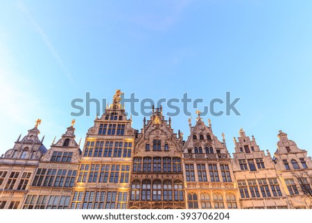 Typical houses in the city of Antwerp at sunset, Belgium - stock photo