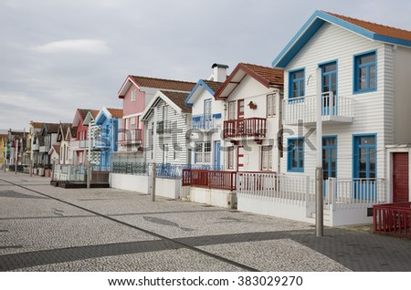 Typical houses of Costa Nova, Aveiro, Portugal.