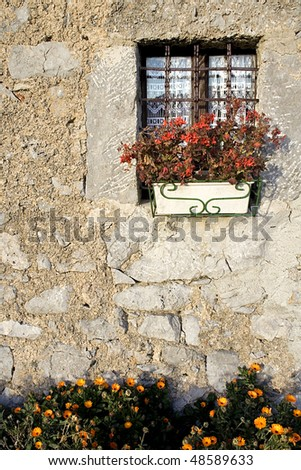 Typical houses, walls, doors and windows in Valle Taleggio, Italy. - stock photo
