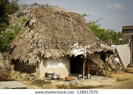 Typical indian clay buildings in village near Tiruvanamalai, Tamil Nadu, India - stock photo