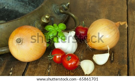 Typical ingredients for Italian cuisine. - stock photo