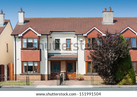 Typical Irish Semi Detached House on a sunny day - stock photo