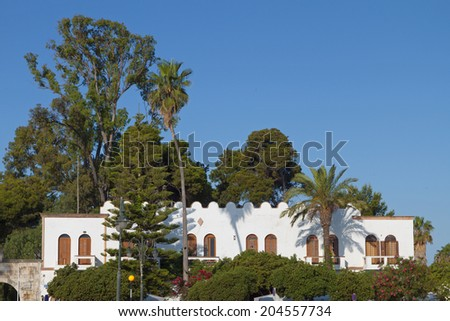 Typical Italian architecture at Kos island in Greece - stock photo