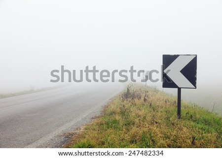 Typical Italian countryside of the po delta with fog - stock photo
