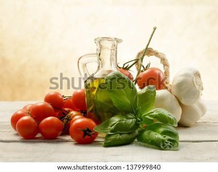 typical italian food ingredients - stock photo