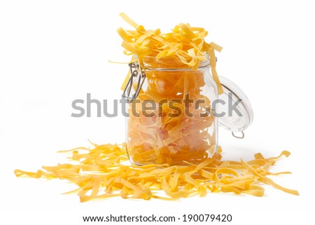 Typical italian food pasta in a jar isolated on white. - stock photo