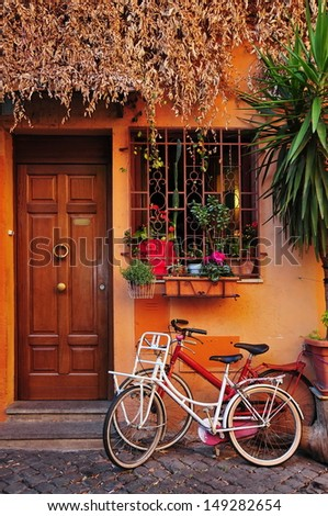 Typical Italian house in Trastevere, Rome - stock photo