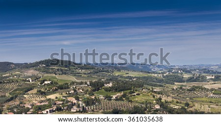 Typical italian landscape in Tuscany on a sunny day - stock photo