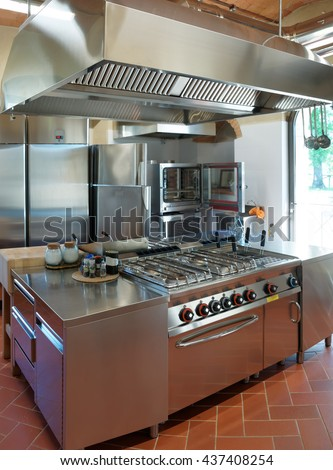 Typical kitchen of a restaurant not in operation - stock photo