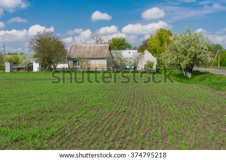 Typical landscape in Ukrainian village at spring season