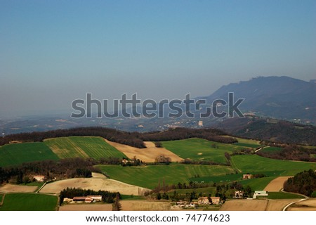 Typical landscape of south of France, Drome, Rhone, Alps - stock photo