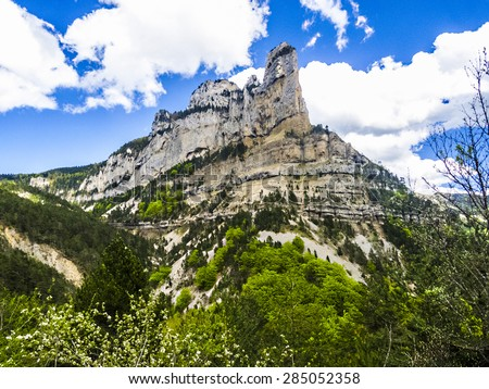 Typical landscape of south of France, Rochecolombe, Drome, Rhone, Alps - stock photo