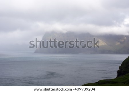 Typical landscape on the Faroe Islands, with view from Kalsoy towards Kunoy and Vidoy
