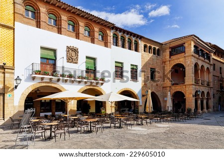 Typical landscapes and authentic Catalan cozy streets in cities of  Spain.Catalonia. - stock photo
