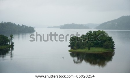 typical loch, lake in Scotland - stock photo