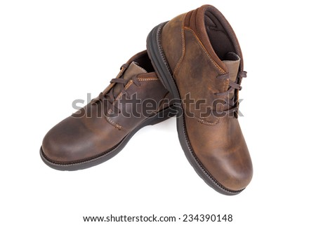 Typical male leather brown shoes - stock photo