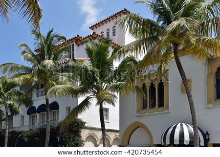 Typical mediterranean architecture on Worth Avenue, on Palm Beach, Florida.