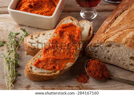 Typical Mediterranean meat spread prepared with pork and paprika. - stock photo