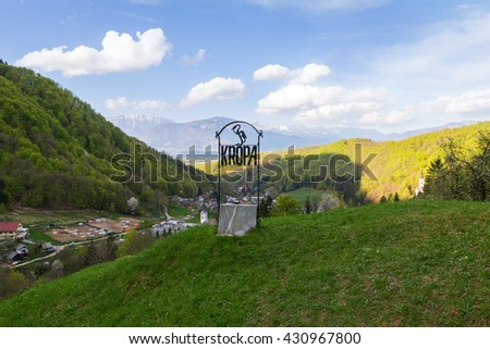 Typical mountain landscape and village in Slovenia,Europe - stock photo
