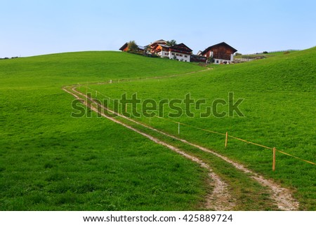 Typical mountain landscape in the Dolomites in Italy,Europe - stock photo