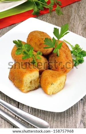 typical neapolitan food  potato croquettes fried made with mozzarella cheese and diced bacon
