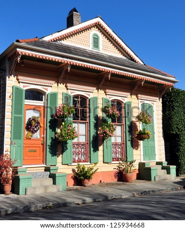 Typical New Orleans French Quarter Architecture - stock photo