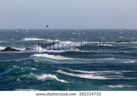 Typical northern Portuguese seascape coast during north winds days - stock photo