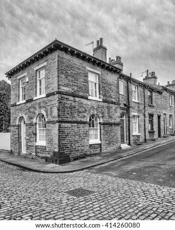 Typical Northern terrached houses and back streets at Saltaire, Bradford, West Yorkshire, UK