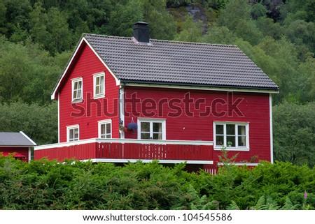 Typical Norwegian House Lysebotn Norway Stock Photo