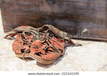 Typical object used by the Roman legions of the Roman Empire. It's a sandal used by soldiers - stock photo